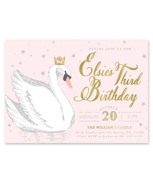 Elsie Swan Princess: Birthday Party Invitation for Girl. Light Pink, Gold Crown, Stars