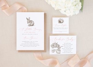 Riley: Bunny Baby Shower Invitation {Pink}