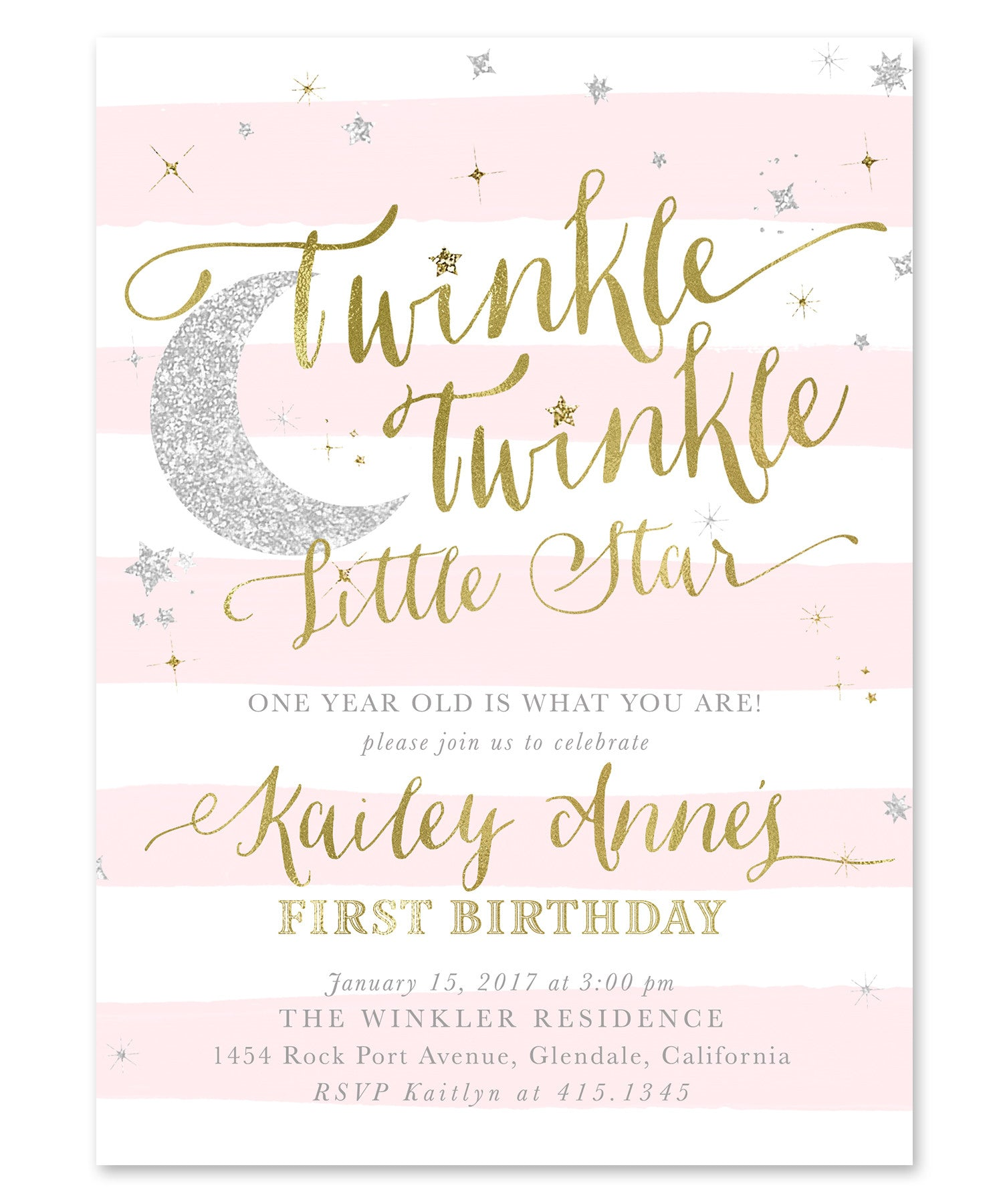 Twinkle Little Star Girl Birthday Invitation Blush Pink Stripes