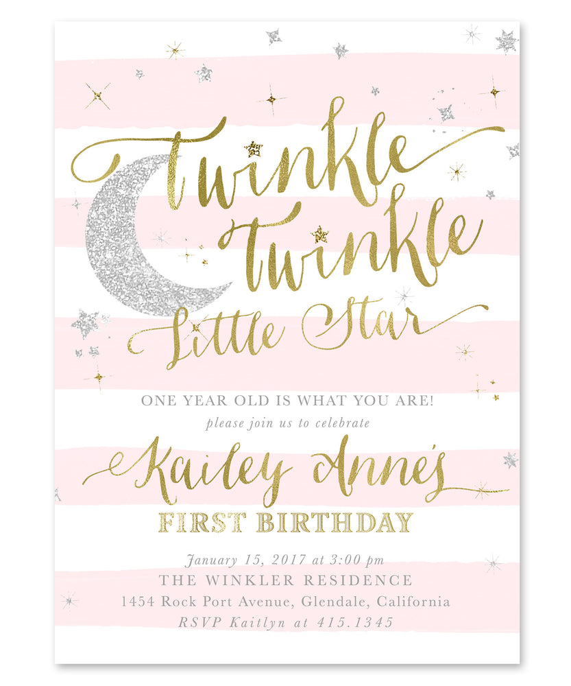 Twinkle Little Star Girl Birthday Invitation {Blush Pink Stripes}
