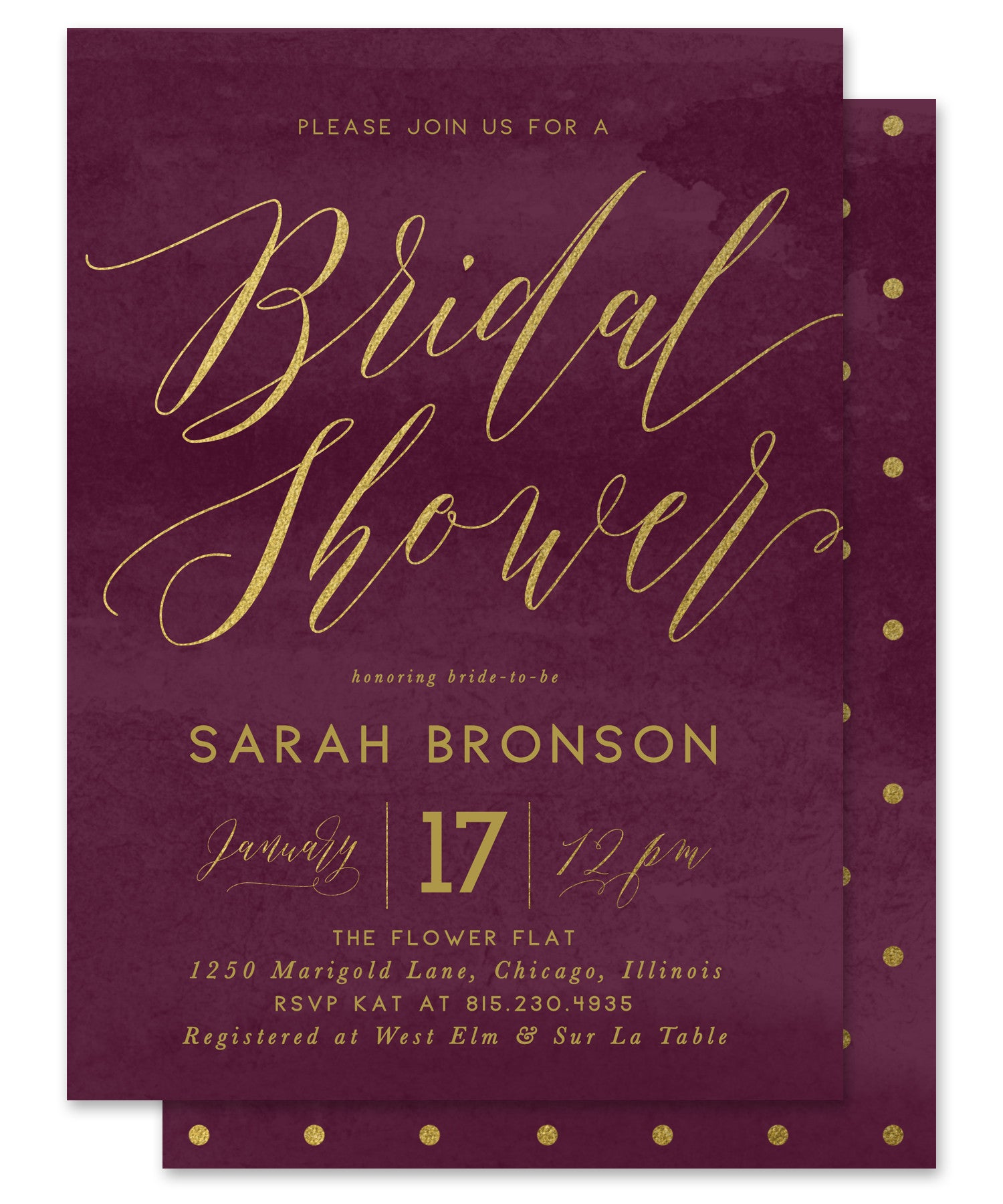 sarah bridal shower invitation cranberry red gold
