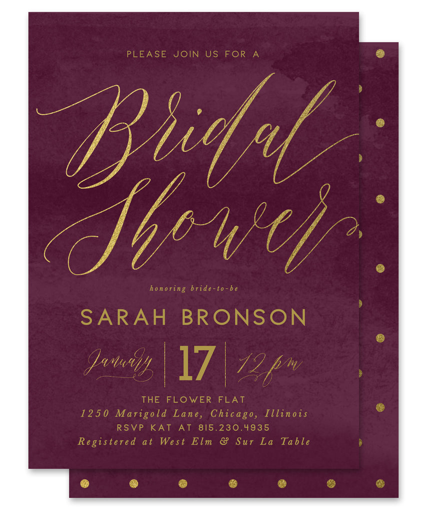 Sarah: Bridal Shower Invitation {Cranberry Red & Gold}