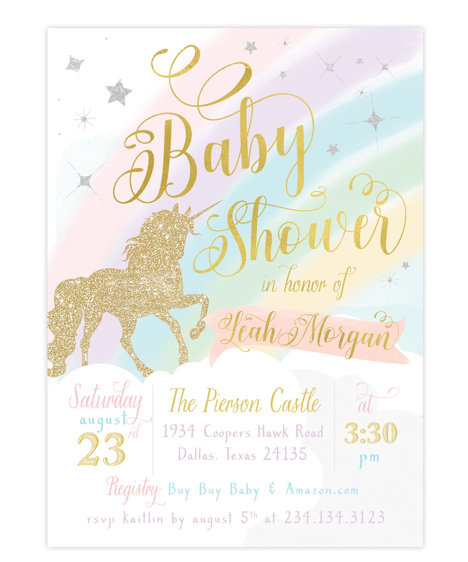 Unicorn Baby Shower Invitation, Girls Unicorn Baby Shower Invite ...