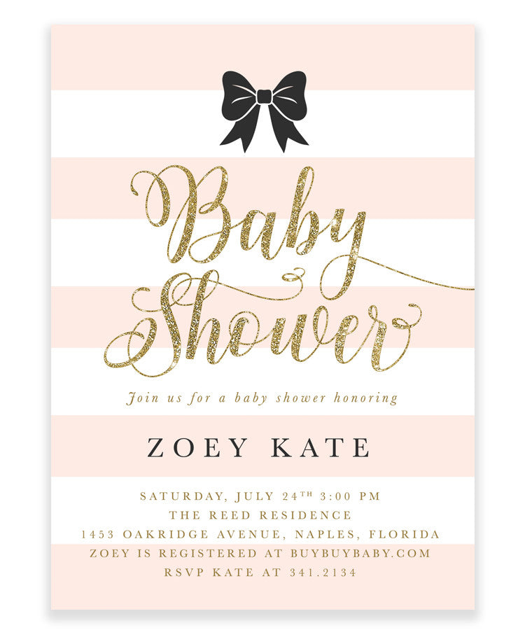 Zoey: Baby Girl Shower Invitation Black Bow, White Stripes, Blush Pink, Gold