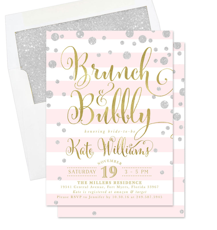 Kate: Brunch & Bubbly Invitation, Pink Stripes, Silver & Gold
