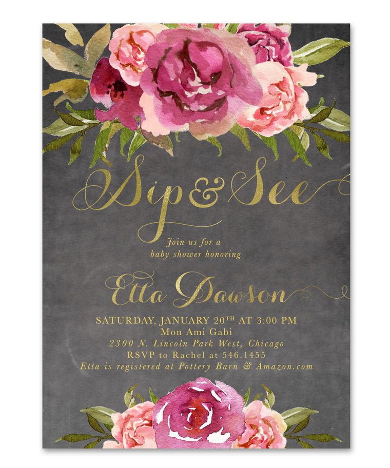 Etta: Baby Girl Sip & See Shower Invitation {Merlot & Blush Pink & Gold Chalkboard Floral}