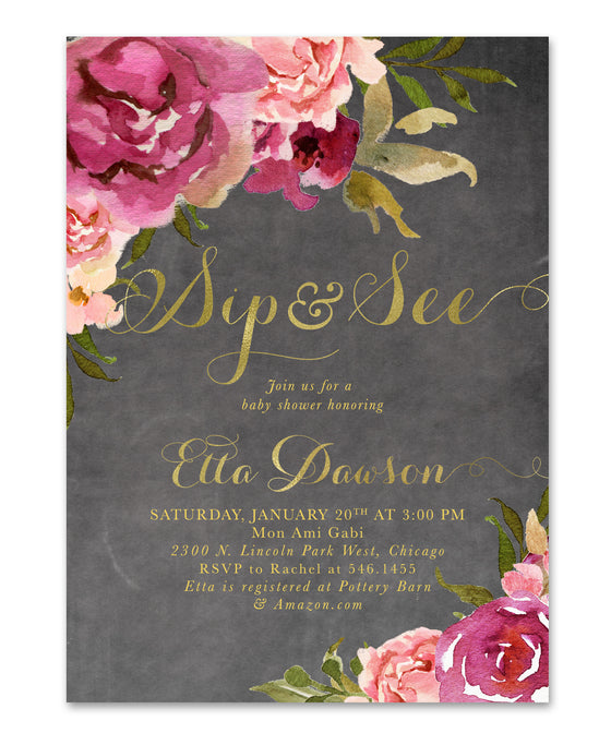 Etta: Baby Girl Sip & See Shower Invitation {Burgundy & Blush Pink & Gold Chalkboard Floral}