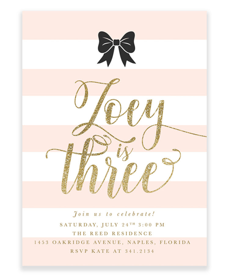 Zoey: Black Bow, White Stripes, Blush Pink, Gold Girl's Birthday Invitation