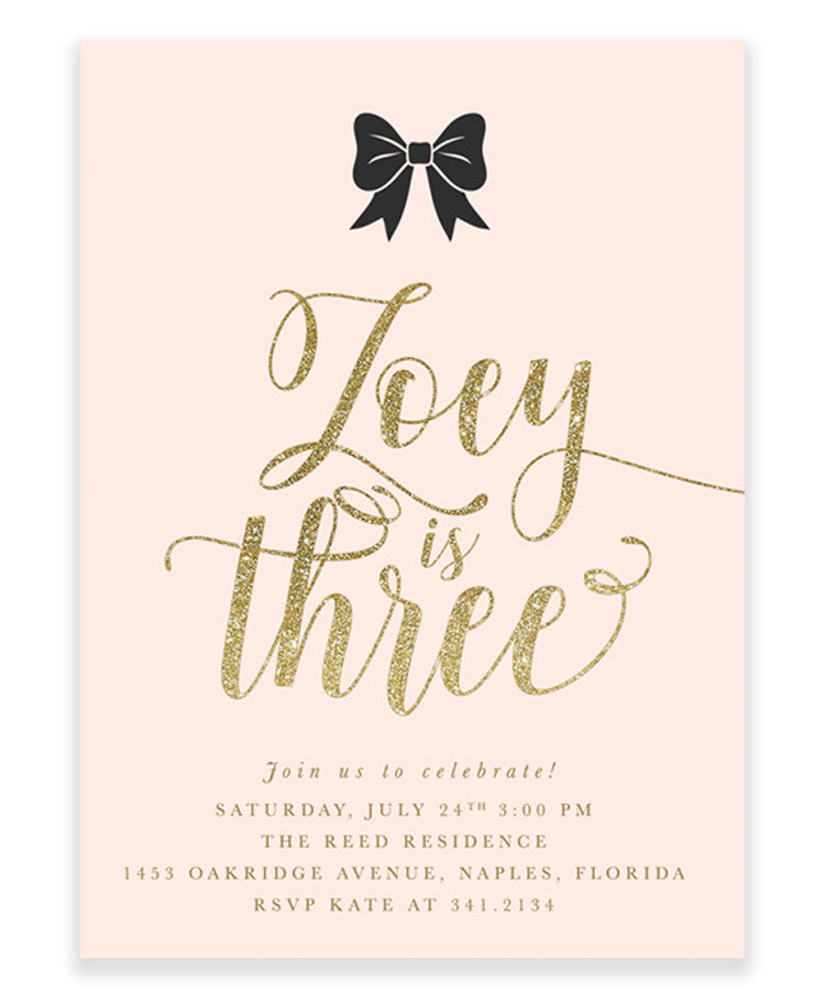 Zoey: Black Bow, Blush Pink, Gold Girl's Birthday Invitation