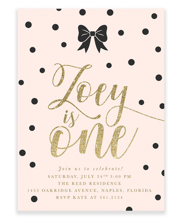 Zoey: Black Bow, Black Confetti, Blush Pink, Gold Girl's Birthday Invitation