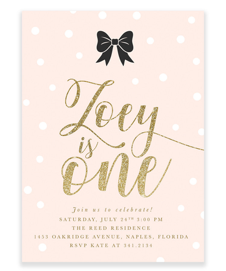 Zoey: Black Bow, White Confetti, Blush Pink, Gold Girl's Birthday Invitation