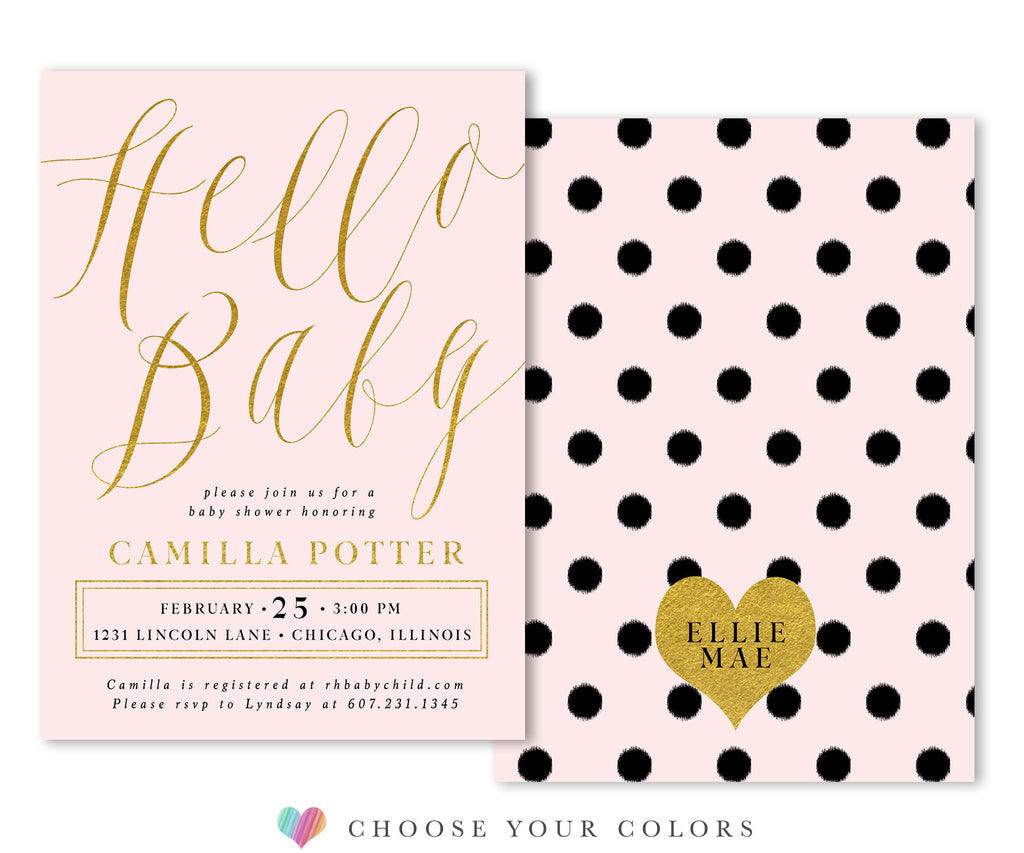 Sutton: Hello Baby Invitation {Pink}