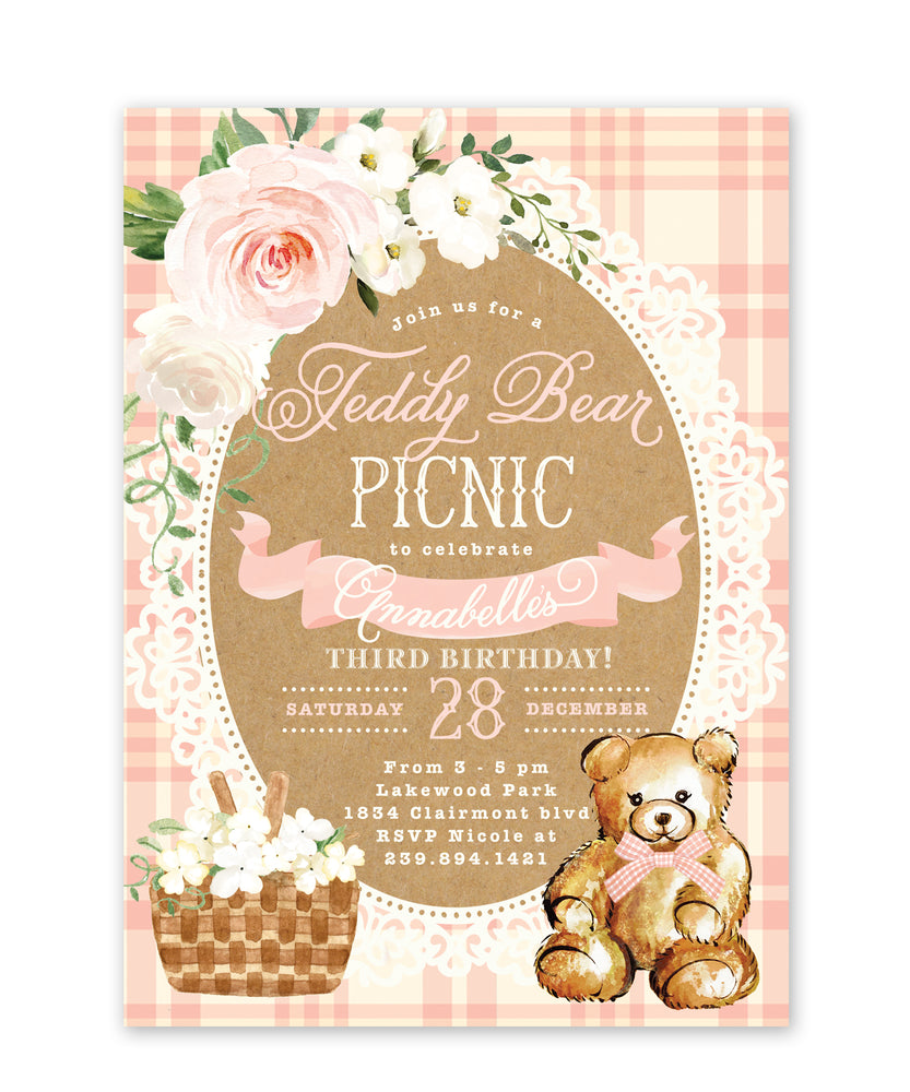 Teddy: Teddy Bear Picnic Invitation {Pink}
