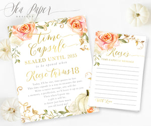 Fall Time Capsule Sign & Cards {Orange Florals with White Pumpkin}