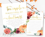 Fall Floral and Pumpkin Time Capsule Sign & Cards