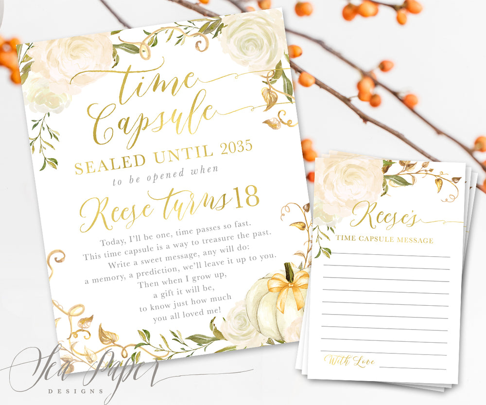 Fall White Floral and Pumpkin Time Capsule Sign & Cards