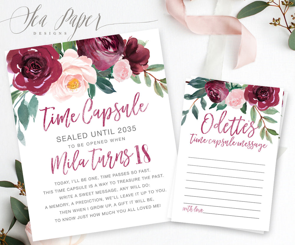 Odette Time Capsule Sign & Cards {Burgundy}