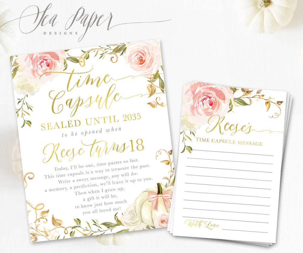 Fall Time Capsule Sign & Cards {Pink and White Florals with Pumpkin}