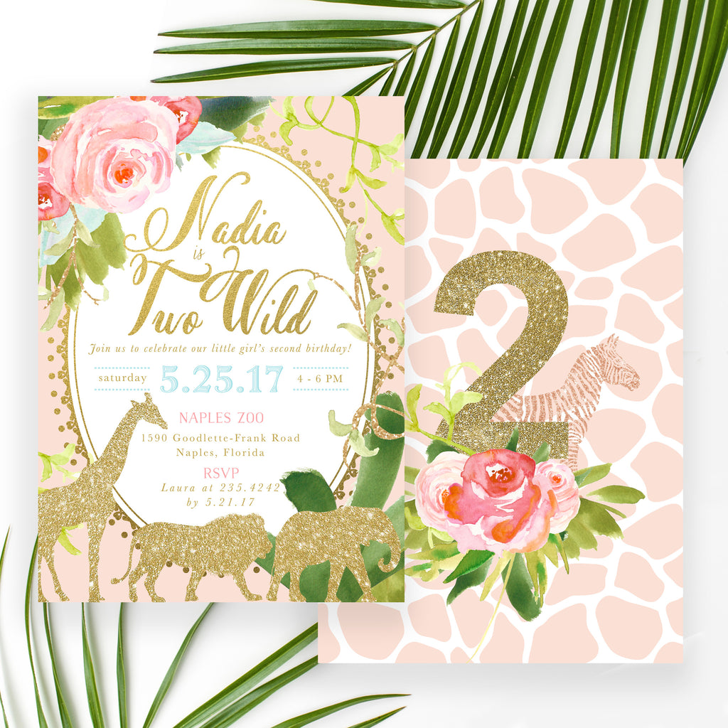 Glam Safari, Jungle Girl Second 2nd Birthday Invitation, Tropical, Flowers, Giraffe, Lion, Elephant, Gold Pink Party Invite - Nadia