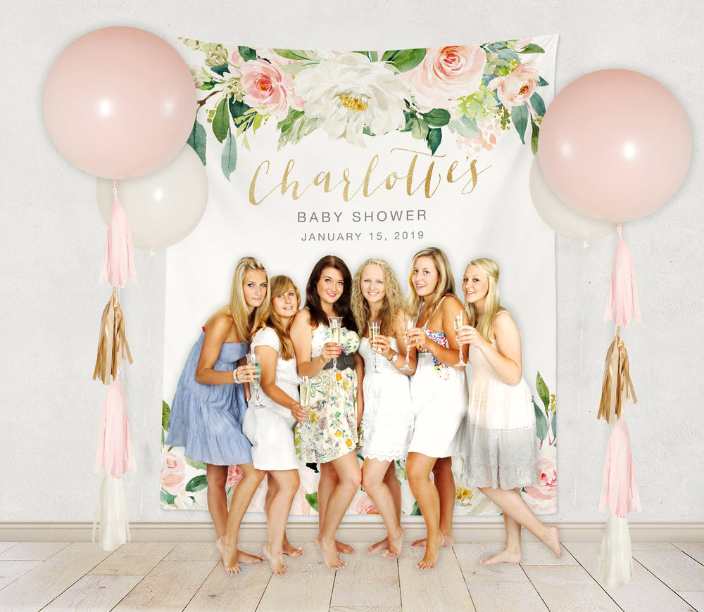 Charlotte: Blush Pink and White Backdrop {Vertical}