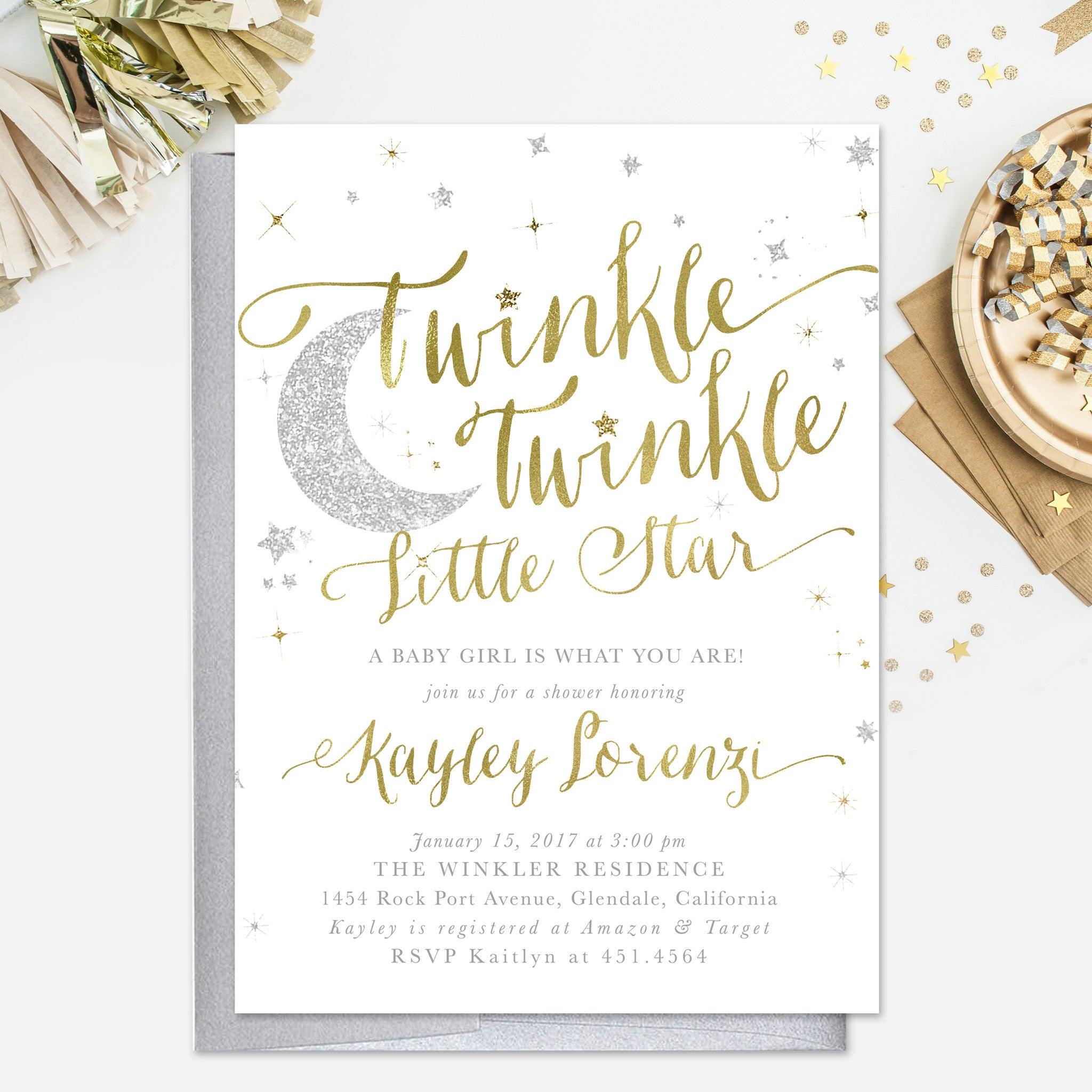 Twinkle Twinkle Little Star Boy or Girl Baby Shower Invitation
