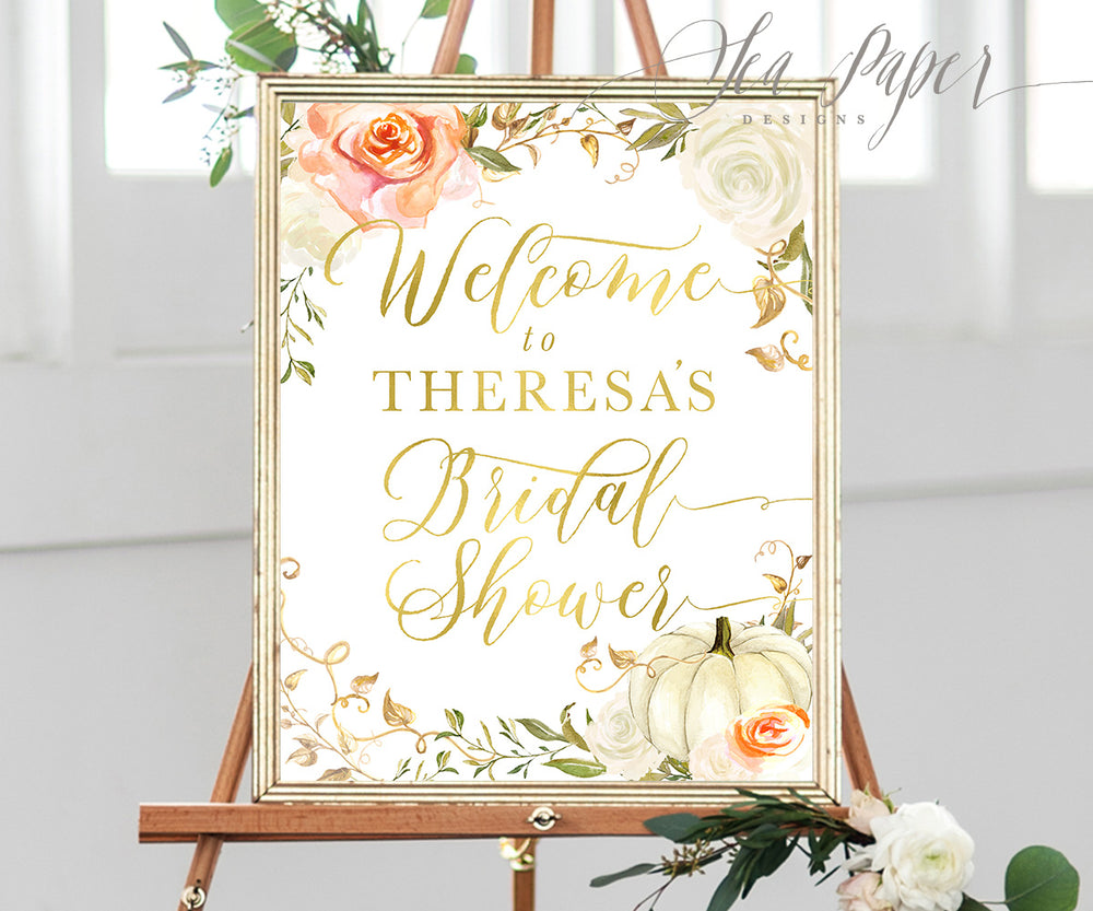 Fall Floral Bridal Shower Welcome Sign