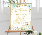 Fall Blue Floral and White Pumpkin Welcome Sign