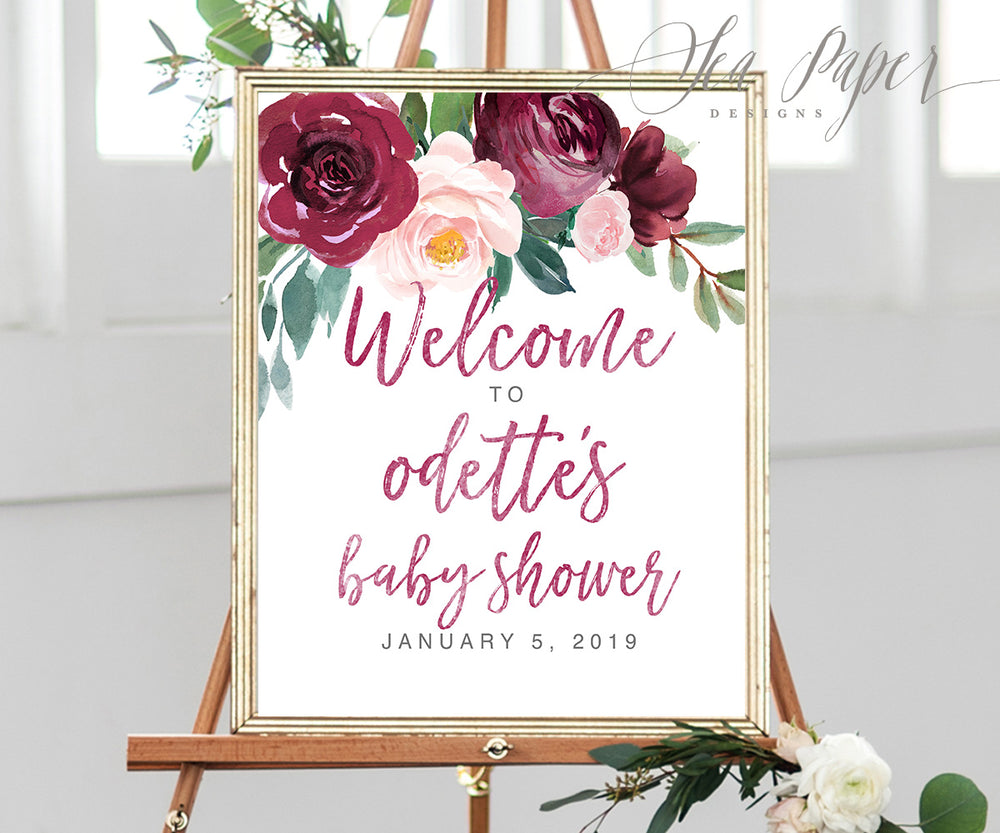 Odette: Welcome Sign {Burgundy}