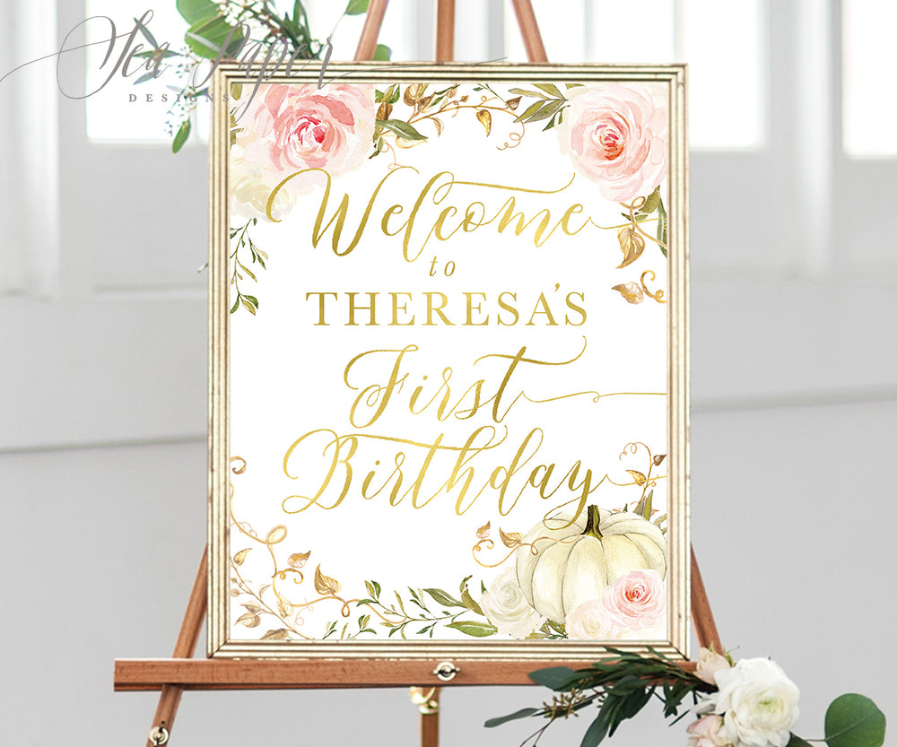 Fall Pink Floral and White Pumpkin Welcome Sign