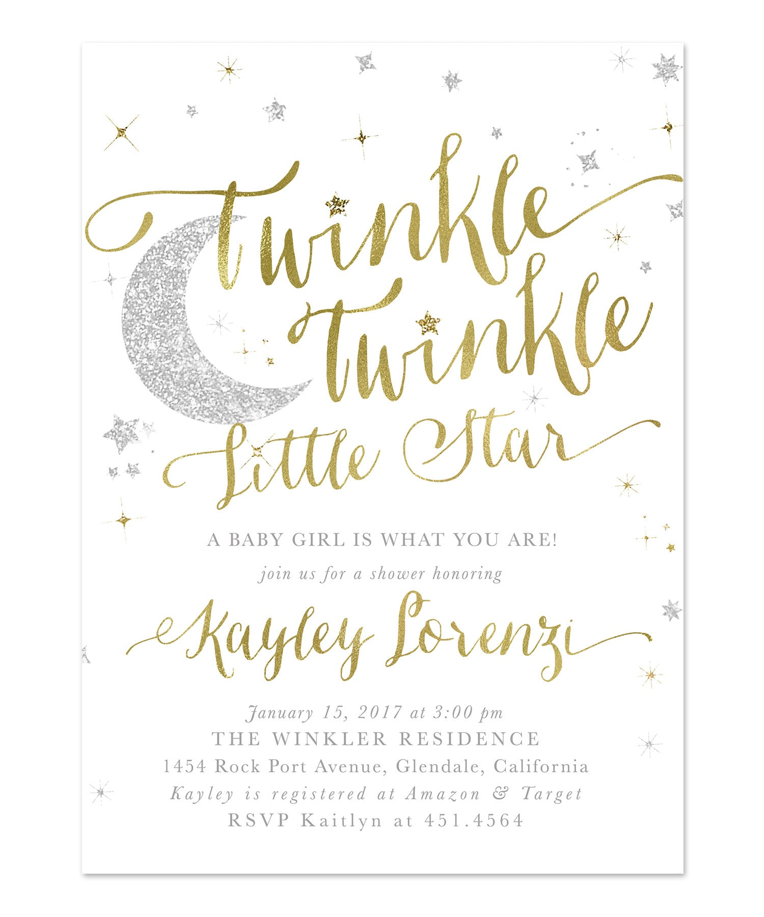 Twinkle Twinkle Little Star Boy or Girl Baby Shower Invitation {White} - Sea Paper Designs
