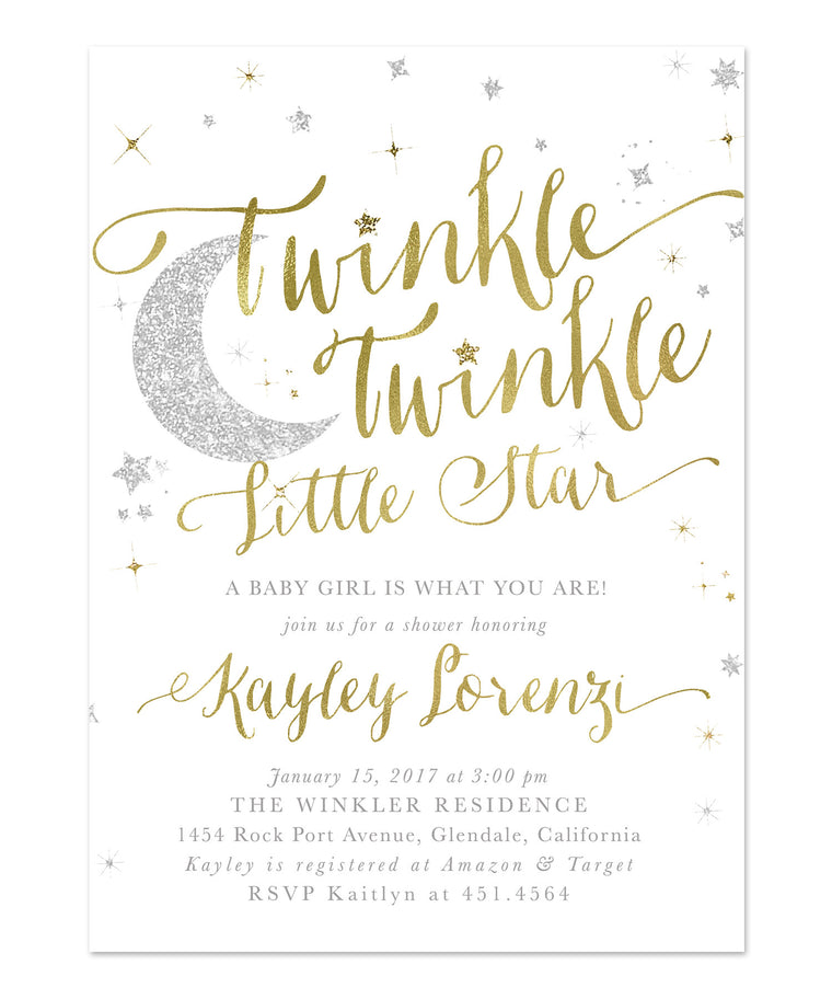 Twinkle Twinkle Little Star Boy or Girl Baby Shower Invitation {White}