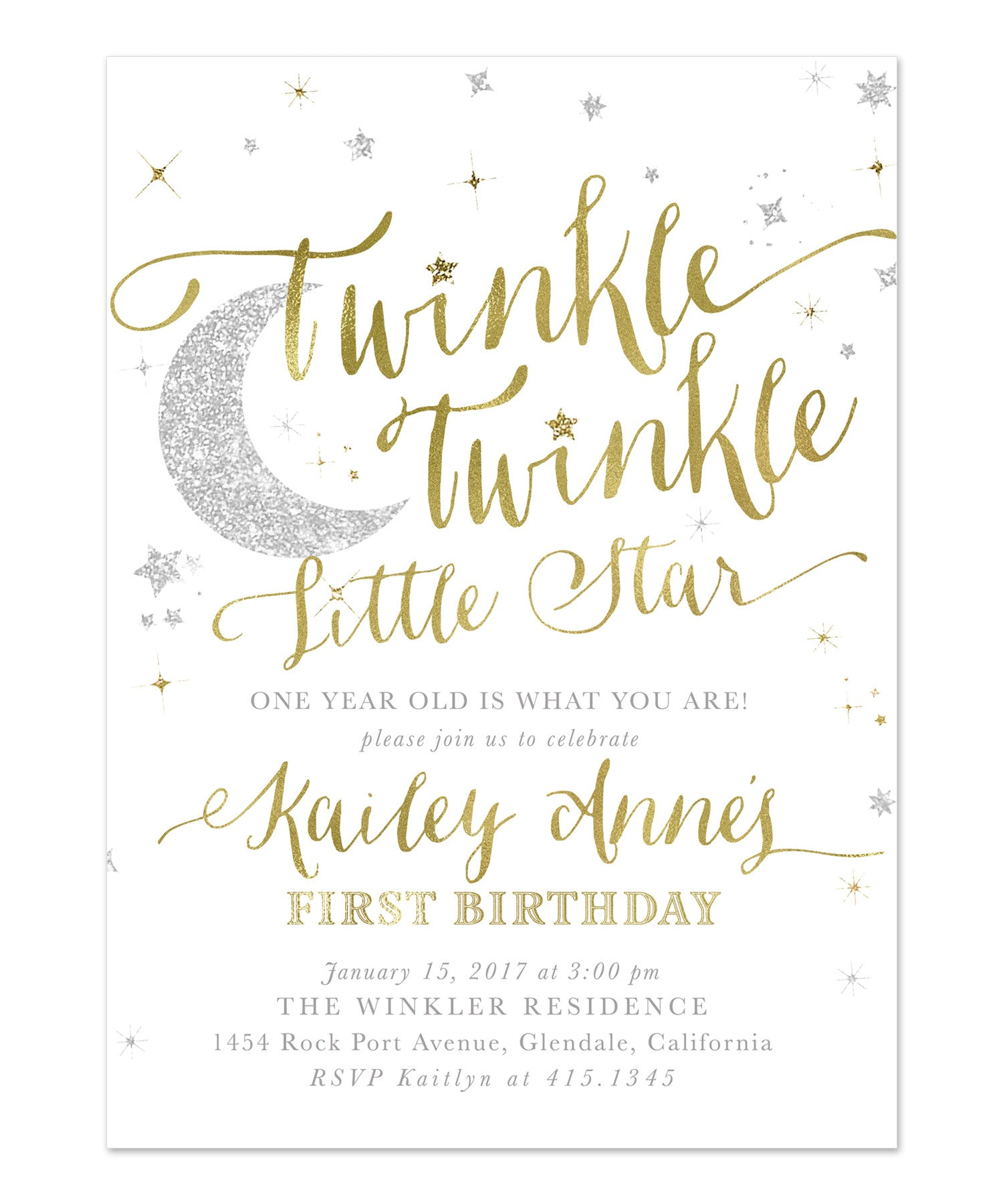 Twinkle Twinkle Little Star Boy or Girl Birthday Invitation White