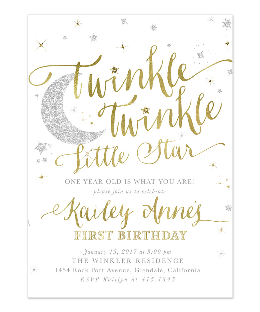 Twinkle Twinkle Little Star Boy or Girl Birthday Invitation {White}