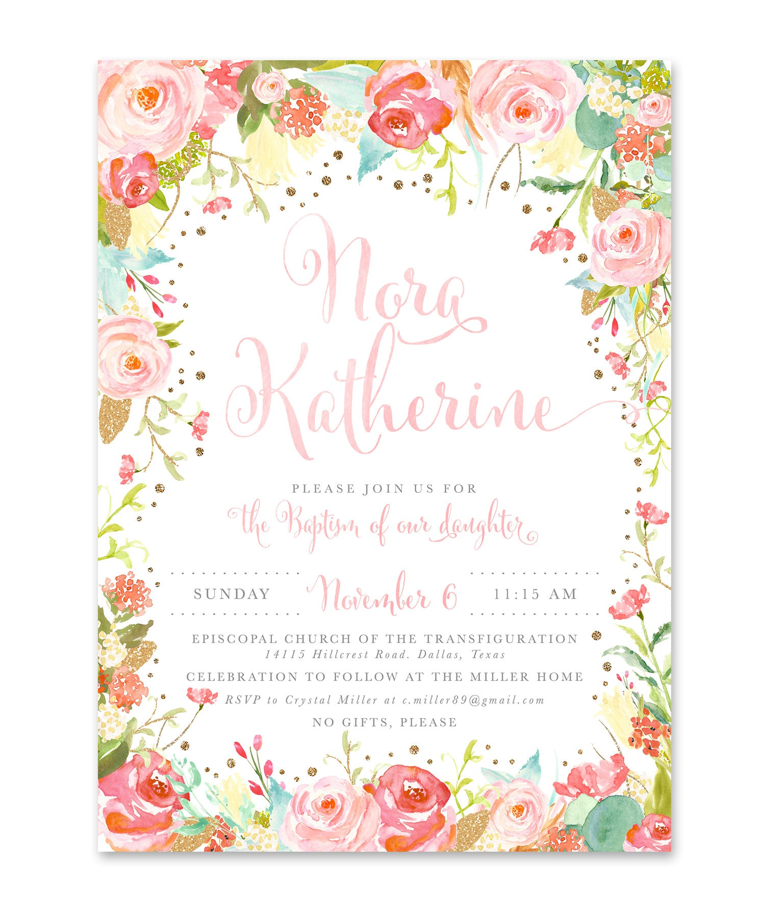 willow pink watercolor flowers baptism christening dedication