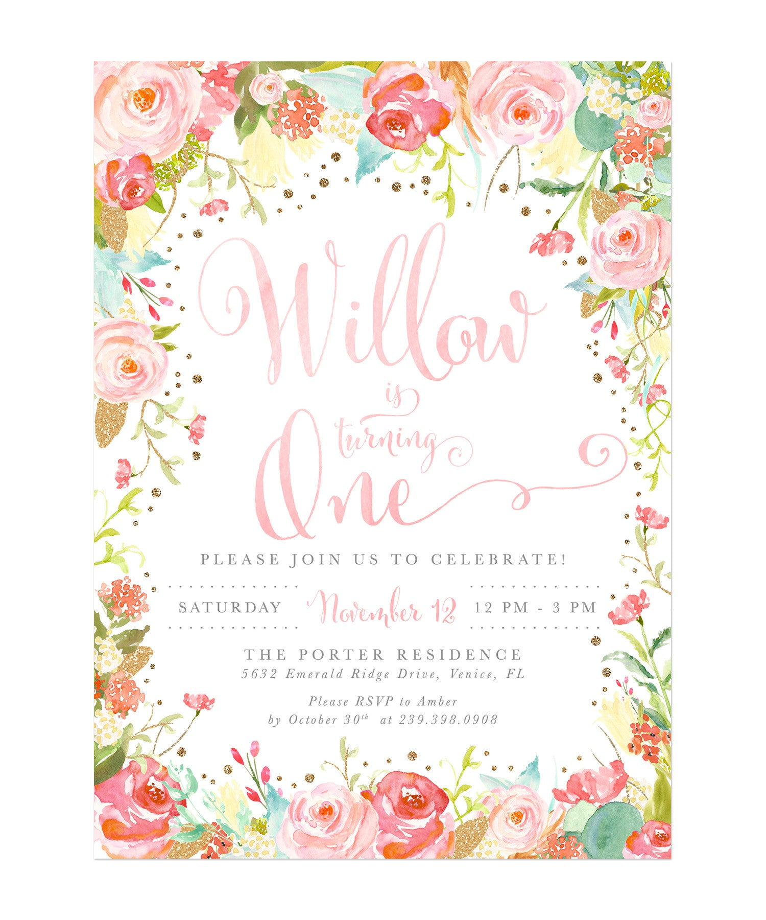 Willow: Pink Floral Girl Birthday Party Invitation, Watercolor Roses ...