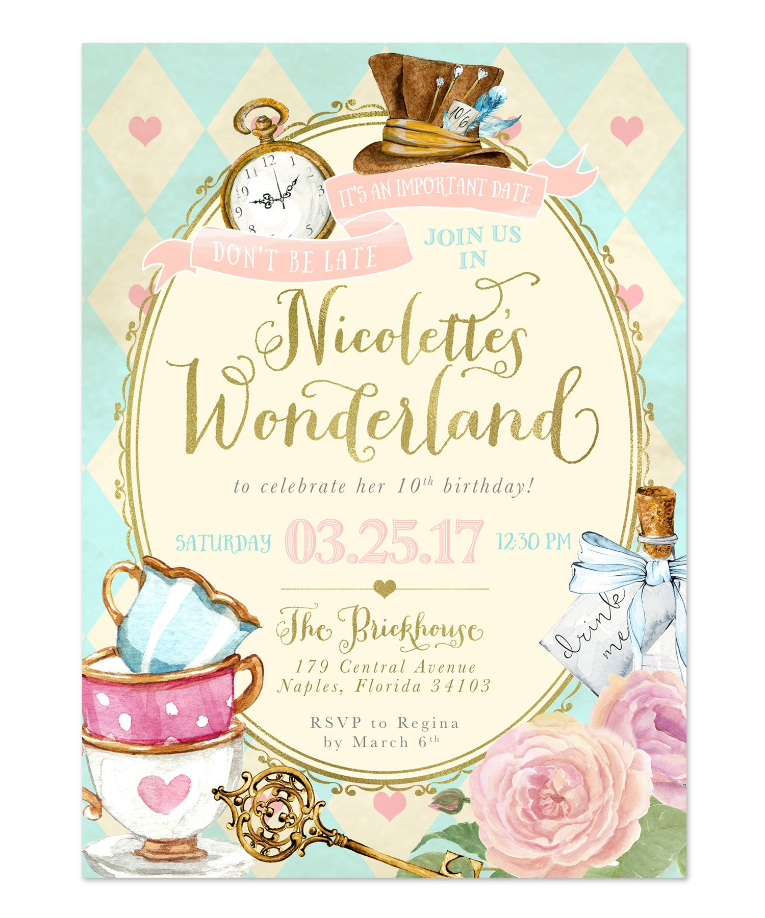 Alice in Wonderland Birthday Party Invitation Girls Themed