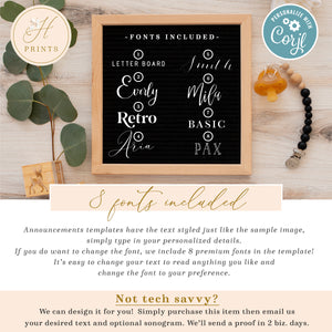 Editable Social Media Pregnancy Announcement, Minimal Baby Pregnancy Announcement, Gender Neutral Personalized Letter Board Announcement