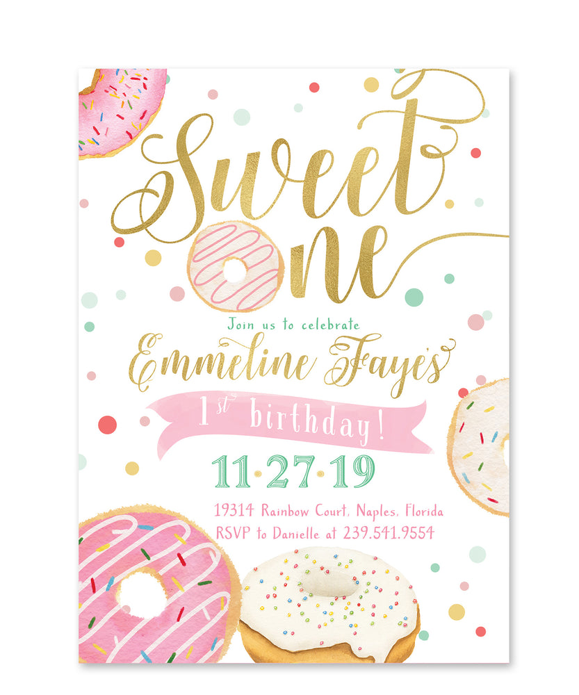 Donut: Sweet One First Birthday Invitation