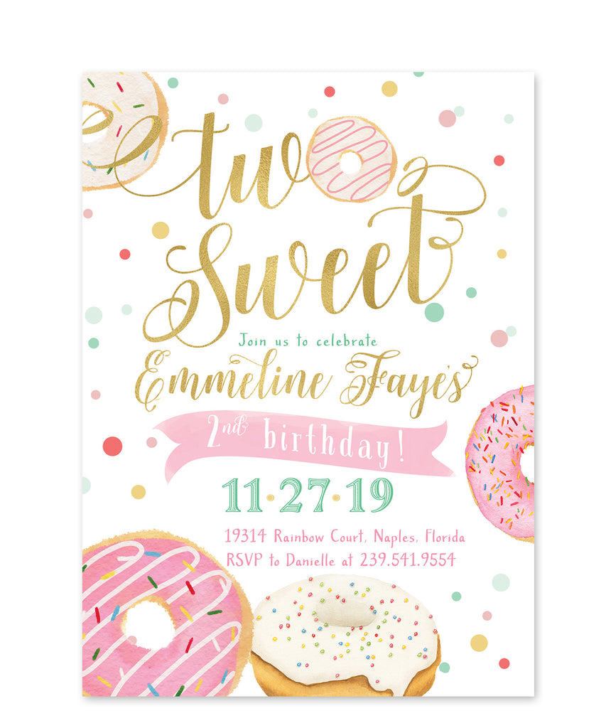Donut: Two Sweet Second Birthday Invitation