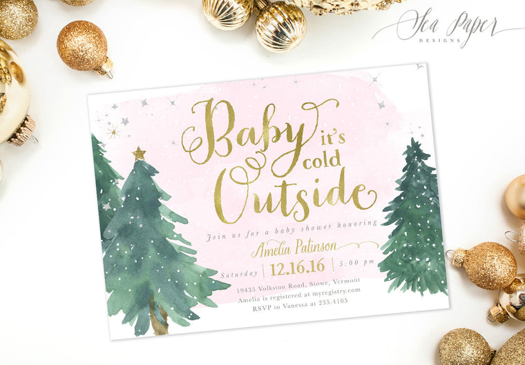 Baby it's Cold Outside: Baby Shower Invitation, Pink Watercolor Snow & Christmas Trees