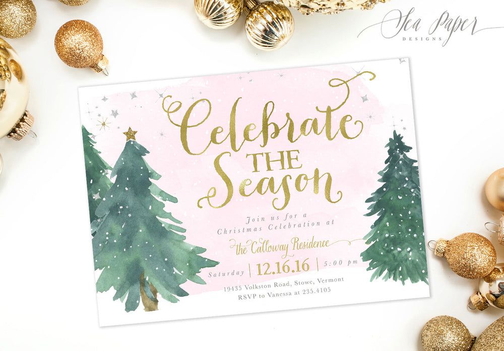 Holiday 1: Celebrate the Season, Holiday Party Invitation {Pink}