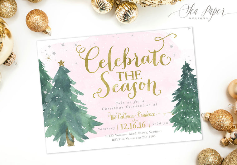 Celebrate the Season: Holiday Party Invitation, Pink Watercolor Snow & Christmas Trees