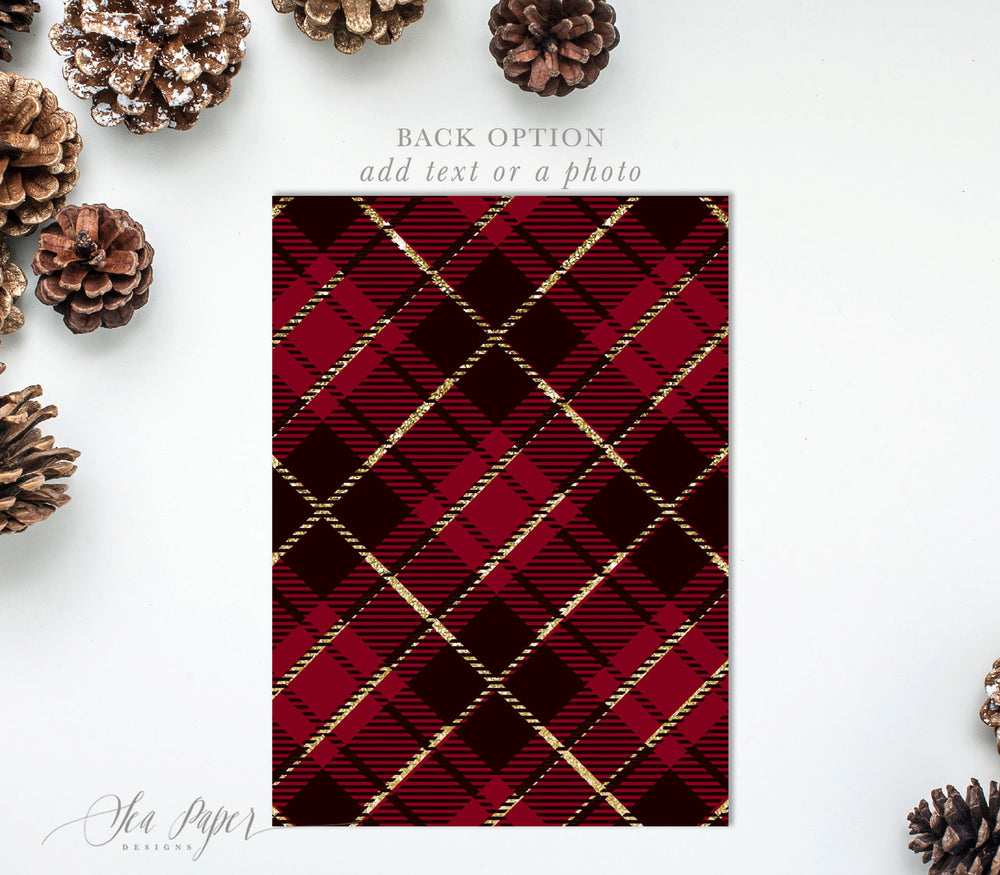 Holiday Invitation: Christmas Jingle & Mingle, Red Plaid, Gold Glitter