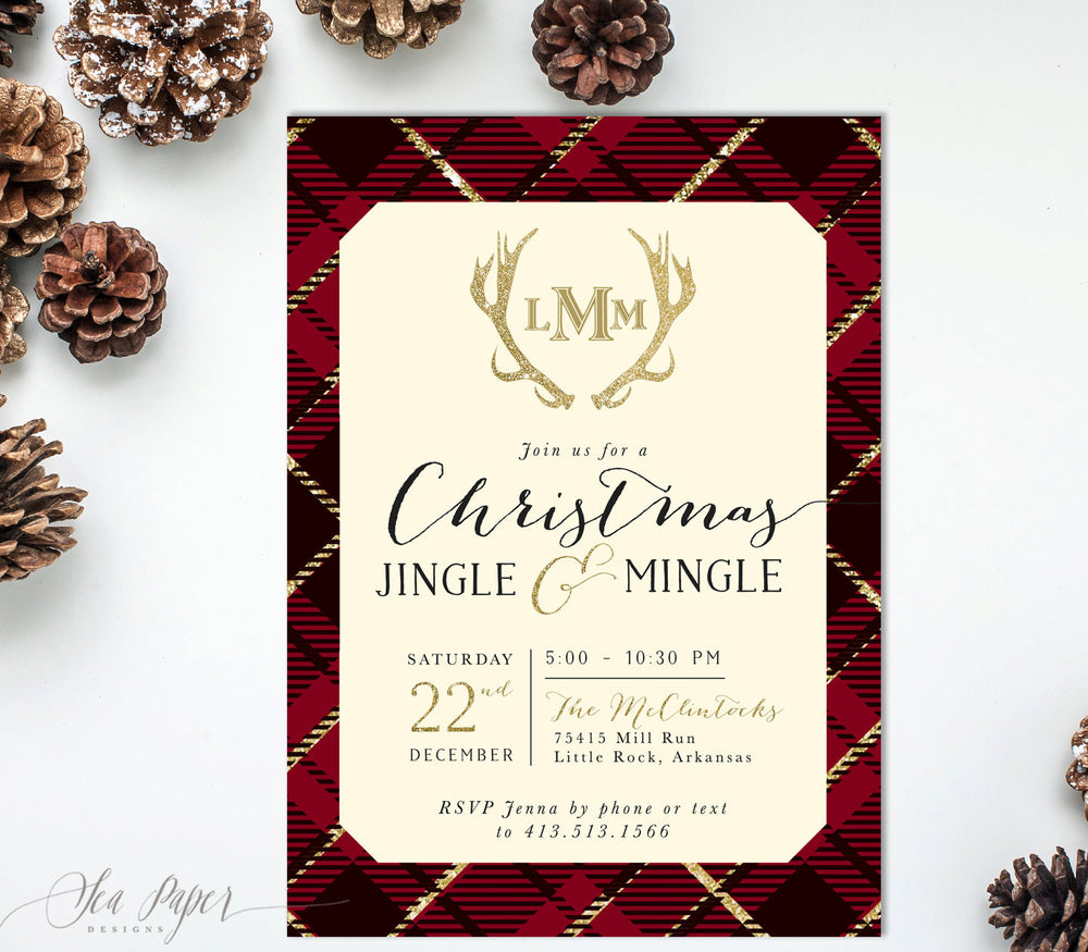 Holiday Invitation: Christmas Jingle & Mingle, Red Plaid