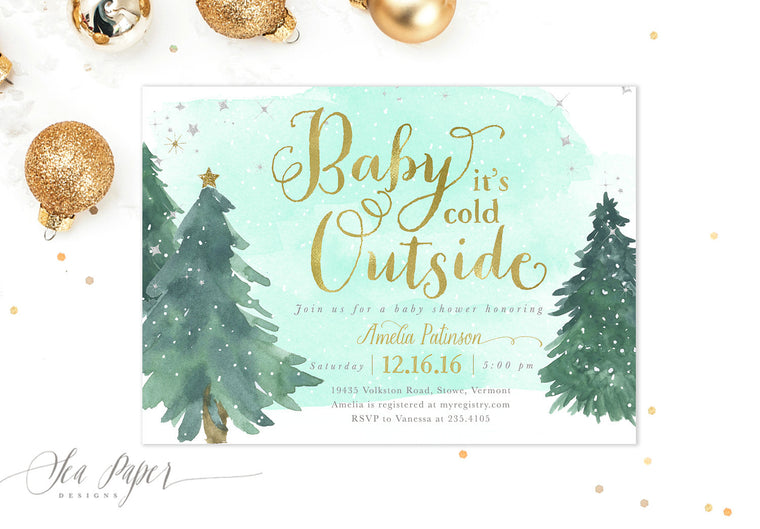 Baby it's Cold Outside: Baby Shower Invitation, Mint Watercolor Snow & Christmas Trees