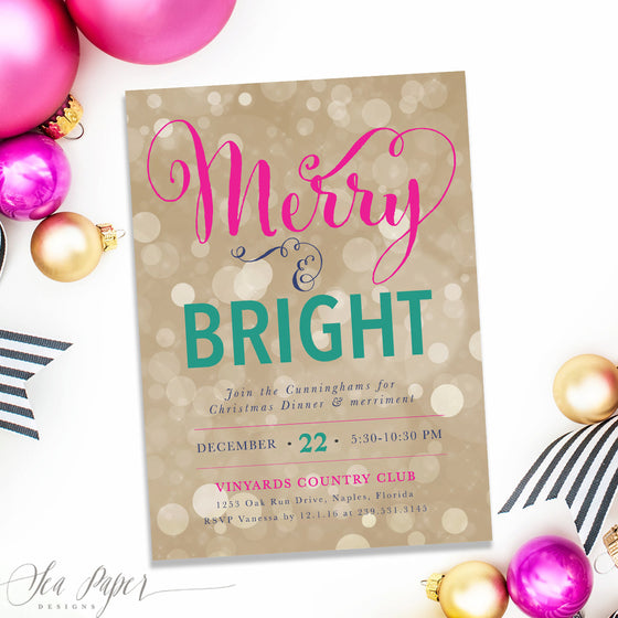 Holiday Merry & Bright Invitation, Pink, Turquoise and Gold Bokeh
