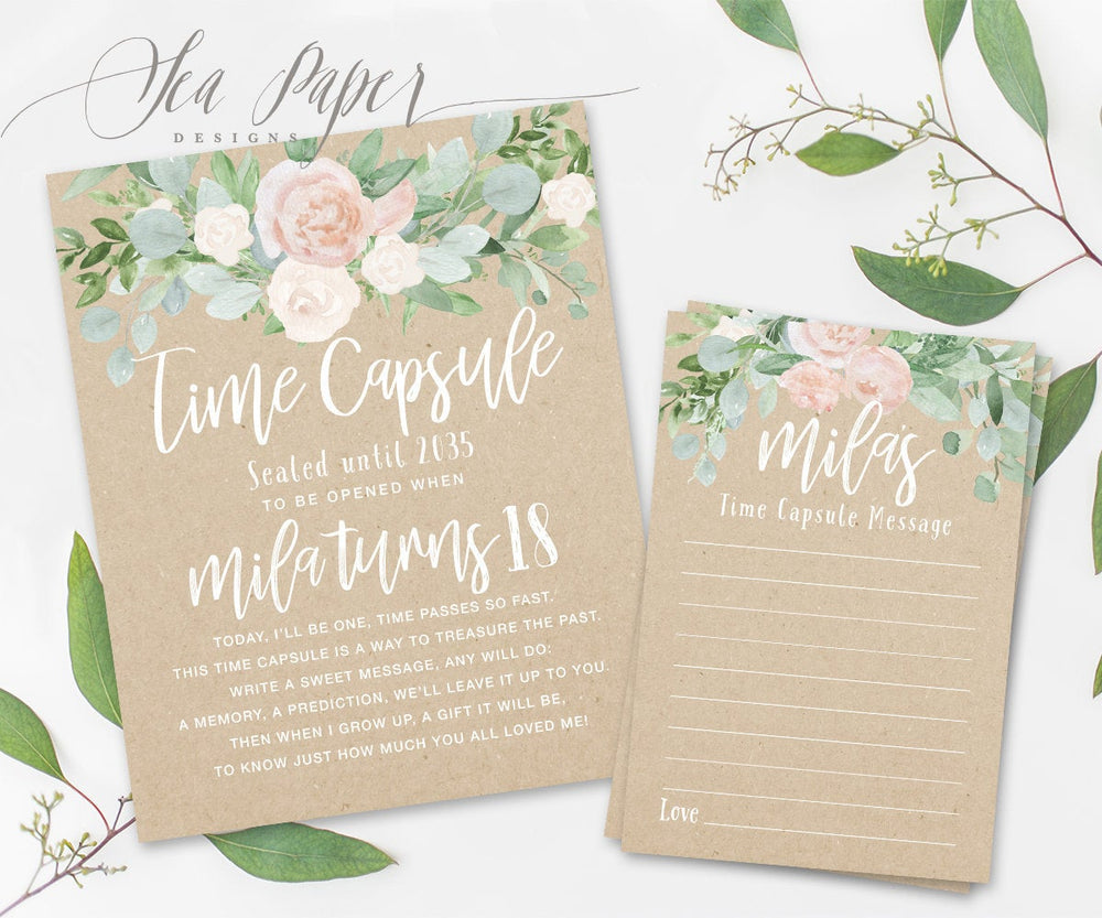 Mila Time Capsule Sign & Cards {Kraft}