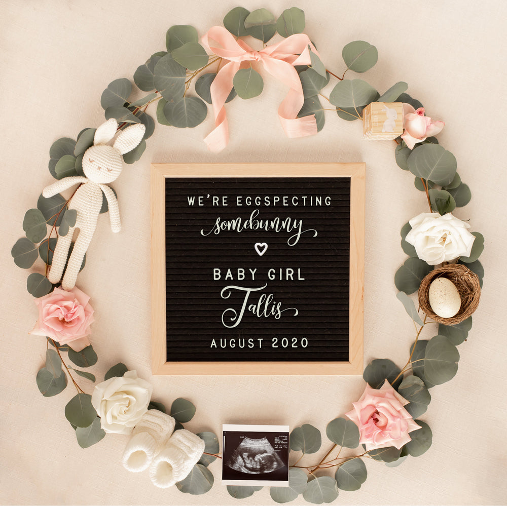 Editable Spring Baby Girl Pregnancy Announcement for Social Media, Spring Baby Announcement for Social Media, Letter Board Template