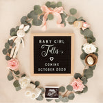 Baby Girl Spring Pregnancy Announcement for Social Media, Spring Baby Announcement for Social Media, Letter Board Pregnancy Announcement