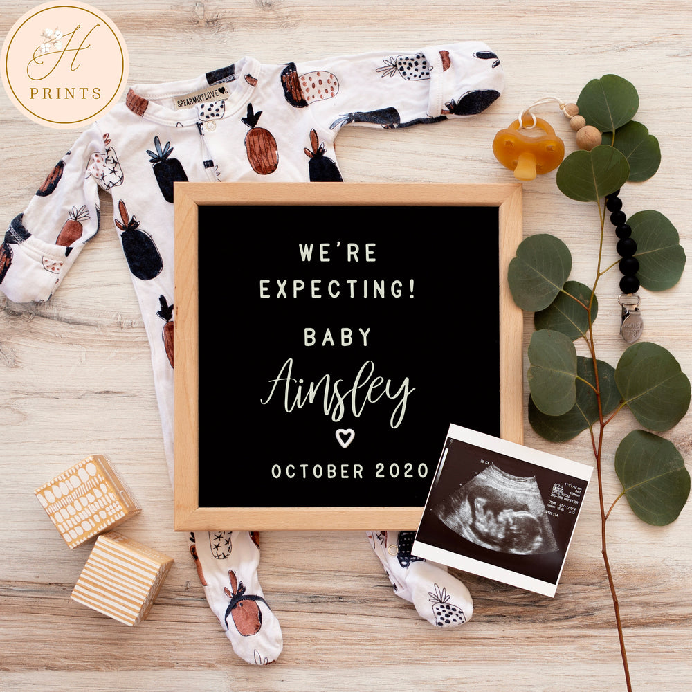 Social Media Pregnancy Announcement, Digital Baby Pregnancy Announcement, Gender Neutral Editable Letter Board Announcement Template